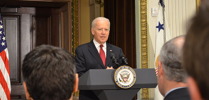 Vice President Joe Biden speaks to a White House gathering in acknowledgement of the recently enacted Achieving a Better Life Experience (ABLE) Act of 2014.