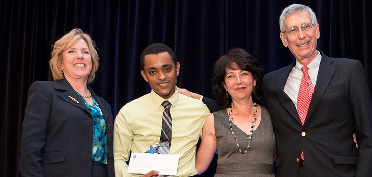 AYPF Executive Director Betsy Brand, 2015 Halerpin Youth Awardee Efrem Ayalew, Deena Barleva (Halperin's Daughter), and IEL President Martin J. Blank pose for a photo at the event.