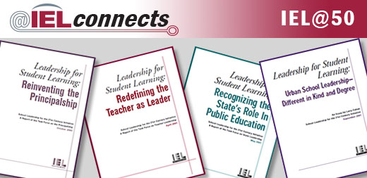 """Four Leadership for Student Learning Covers: """"Reinventing the Principalship,"""" """"Redefining the Teacher as Leader,"""" """"Recognizing the State's Role in Education,""""  and """"Urban School Leadership: Different in Kind and Degree"""""""