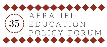 Circle around the number 35 and text reading AERA-IEL Education Policy Forum