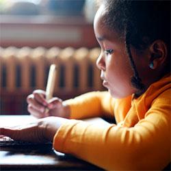 Young girl doing school work