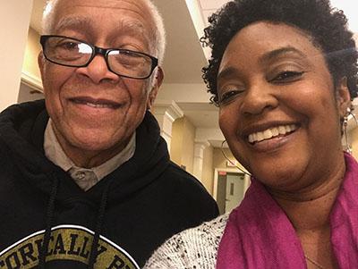 Civil Rights leader Hollis Watkins and IEL Civil Rights Bus Tour Participant Lucretia Murphy take a selfie together. 2018